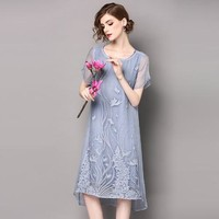 Woman silk vintage floral pattern embroidery knee length straight dress