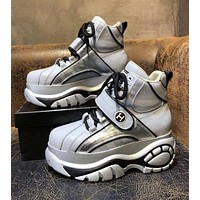 Hermes Newest Trending Woman Stylish Thick Sole Sneakers Sport Shoes Silver Grey I-OMDP-GD