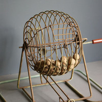 Vintage Bingo Cage and Wooden Balls by Jarco, Game Room Decor, Industrial Wire, Bakelite Handle, Red Catalin
