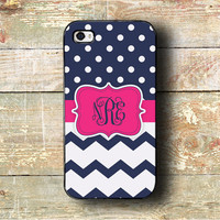iphone 4 case 4s iPhone 5 case cute iPhone 5c case monogram iphone - Navy polka dots, hot pink and chevron - fits iPhone 4/4s/5/5s/5c (1274)