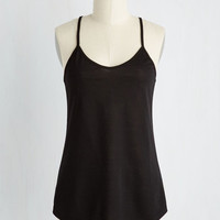 Minimal Mid-length Spaghetti Straps Peace and Kayak Top in Black