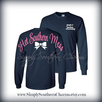 Personalized Tshirt. (1) Long Sleeve 'Hot Southern Mess' Tshirt. Simply Southern T-shirt. Spirit Jersey Inspired. Monogrammed Gift.