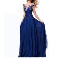 Tara Blue Lace Appliques Prom Gown Evening Formal Party Cocktail Prom Dress