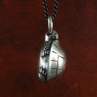 """Turtle Necklace Turtle Jewelry in Antique Silver on 24"""" Gunmetal Chain"""