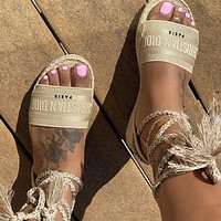 Bunchsun DIOR Popular Women Retro Canvas Embroidery Sandals Shoes