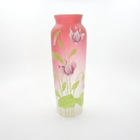 Hand Painted Vase. Rose Pink Frosted Glass. Satin Glass. Wildflowers. Shooting Star Type Flowers.  Vintage Floral Art Nouveau Style.