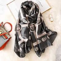 Skull Scarf Pink Black Satin Soft