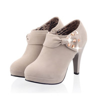 Nubuck Leather women boots fashion Rhinestone Bowtie Round Toe High Thin Heels Ankle boots Solid pumps winter Mary Jane boots