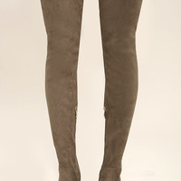 Bellatrix Taupe Suede Thigh High Boots