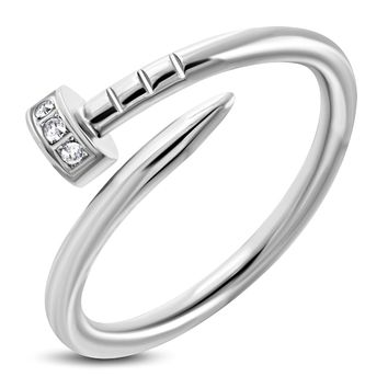 Stainless Steel Cubic Zirconia Spiral Nail Screw Ring