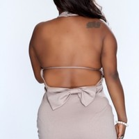 Taupe Bow Accent Backless Sexy Party Dress AMI+