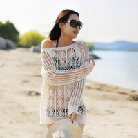 Hollow Out Knitted Long Sleeve Cover Up Blouse