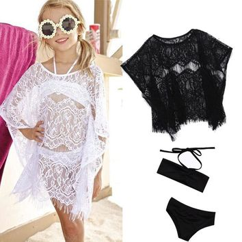 Girls Split Two Pieces Swimsuit with Cover up Lace Hollow Bathing suit Beachwear