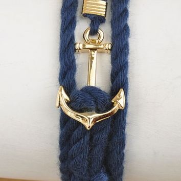 Bracelet - Nautical Mile Anchor Rope Knot Bracelet in Navy Blue