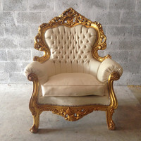 Tufted Gold Chair Antique Italian Rococo *1 Chair Left* Creme Beige Leather Bergere Wingback Gold Leaf Gild Nail Heads Baroque Louis XVI