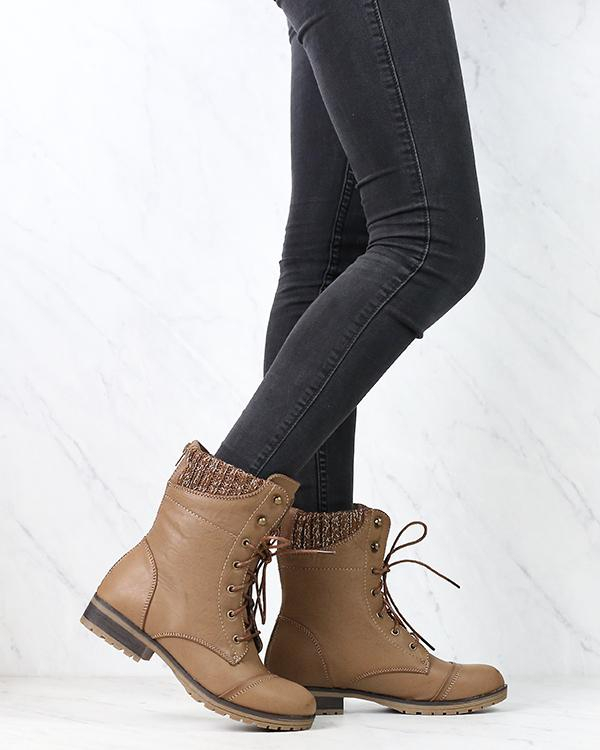 Image of In the Woods Ankle Sweater Cuff Boots in Taupe