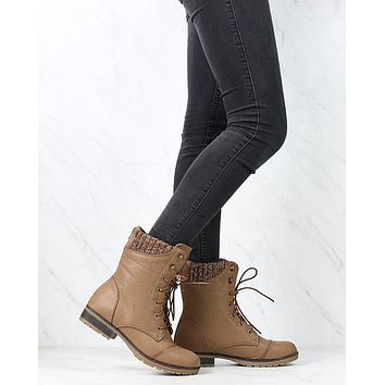 In the Woods Ankle Sweater Cuff Boots in Taupe
