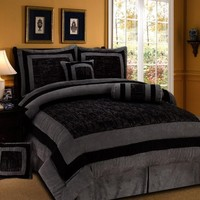 7 Pieces Black and Grey Micro Suede Comforter Set Bed-in-a-bag FULL Size Bedding