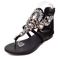 Casual Shoes Woman Slip On Flats Rhinestone sandals