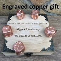 Yahtzee dice, yahtzee, yardzee, yardzee dice, copper dices, yahtzee game,yahtzee gift, copper wedding, copper anniversary gift, copper gifts