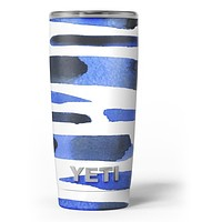 Watercolor Strokes of Blue on Black - Skin Decal Vinyl Wrap Kit compatible with the Yeti Rambler Cooler Tumbler Cups