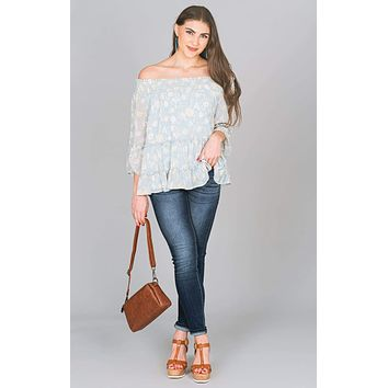 Abstract Off Shoulder Blouse