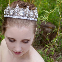 Silver Filigree Crown, Bridal Tiara, Wedding Crown, Princess Crown, Crystal Tiara