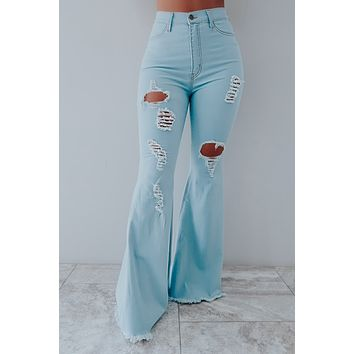 At Your Best Bell Bottoms: Light Denim