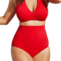 Solid Red High-waisted Halter Bikini Swimsuit