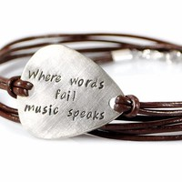 Custom Personalized Silver Guitar Pick Leather Bracelet.