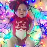 Christmas Newborn Baby Boy Girls Short Sleeve Funny Santa is my home boy Letter Bodysuit Tiny Cotton Outfits Clothes Gift outfit