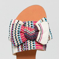 ASOS DESIGN Vintage Wide Fit Bow Flat Sandals at asos.com