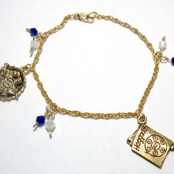 "Beautiful Vermeil 14K Gold over Sterling Silver Pesach Charm Bracelet Pewter Charms Passover Jewish 7.25"" Judaica"