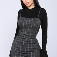 Oxford Plaid Dress - Charcoal