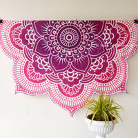 Round mandala tapestry gobelins Indian tapestry Block BedSheet wall sofa blanket Tapestry Hanging Polyester  handmade
