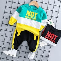 Spring Autumn Baby Boy Girl Clothing Set Cotton Kids Toddler Clothes Letter Sport Suit For Boy Infant Long Sleeve t-shirt+pants