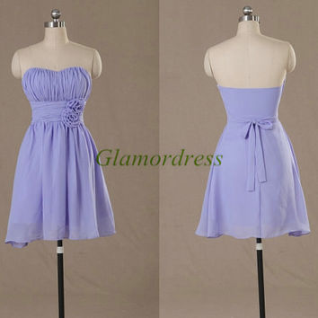 chiffon sweetheart bridesmaid dresses with flowers short custom colors bridesmaid gowns cheap prom dress for wedding party