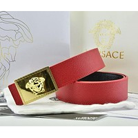 Versace  Men Fashion Smooth Buckle Belt Leather Belt