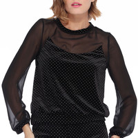 ROMWE | Dot Embellished Black Velvet T-shirt, The Latest Street Fashion