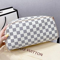 LV New fashion tartan leather handbag cosmetic bag two piece suit White