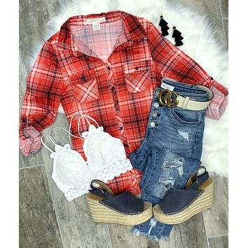 Penny Plaid Flannel Top - White/Red/Blue