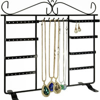 Jewelry Holder, Jewelry Stand for 64 Earrings and 8 hooks for hanging necklace, pendants or chains (BLACK)