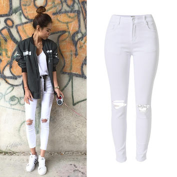 New Fashion Ladies White Ripped Jeans Woman Skinny high waist Jeans Femme Stretch Jean taille haute plus size