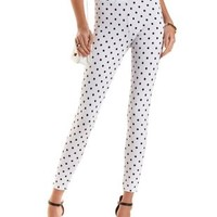 High-Waisted Polka Dot Skinny Pants by Charlotte Russe