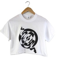 Snake Spiral White Graphic Cropped Unisex Tee