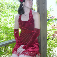1920s Style Vintage Daisy Buchanan Red Burlesque Flapper Costume with fingerless gloves by KitKatCabaret on Etsy
