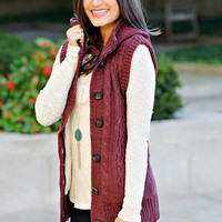 Rhea Hooded Cable Knit Sweater Vest with Button Front : Wine