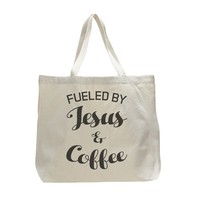 Fueled By Jesus And Coffee - Trendy Natural Canvas Bag - Funny and Unique - Tote Bag