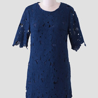 Ruby Falls Lace Shift Dress In Navy