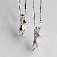 New Fashion Lovely Silver Plated Necklace Tiny Cute Cat Pendants Odd Fancy Jewelry Charm Pendant Necklace